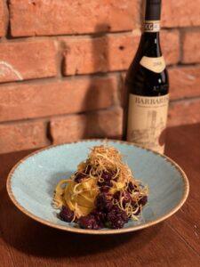 Tagliatelle alla Salsiccia al vino rosso