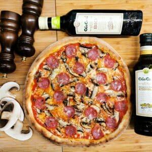Pizza salame e funghi